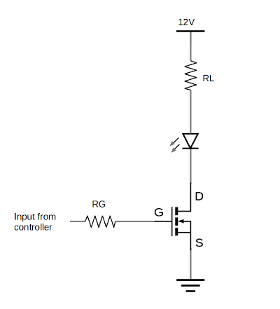 Circuit diagram of an n-channel MOSFET switch configuration