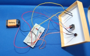 breadboard circuit of the LDR based light circuit