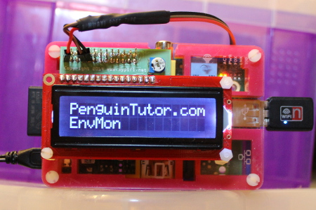 LCD module from mypyfi LCD mounted on a Raspberry Pi Pibow case