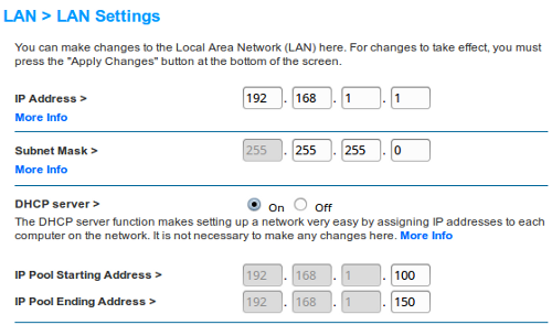 Belkin wireless router lan settings