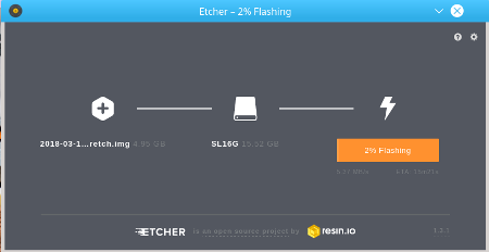 Etcher writing Raspbian SD image to SD card for a Raspberry Pi