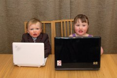 Children using their computers protected behind a Raspberry Pi family filter proxy
