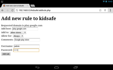 Kidsafe proxy - Adding a new rule for the Google Play App Store on Android