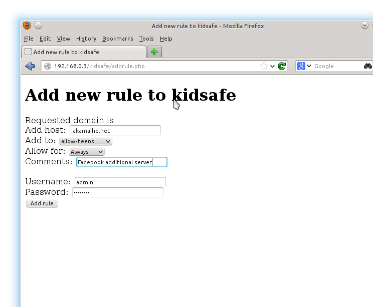 Adding an included site to the kidsafe Internet proxy