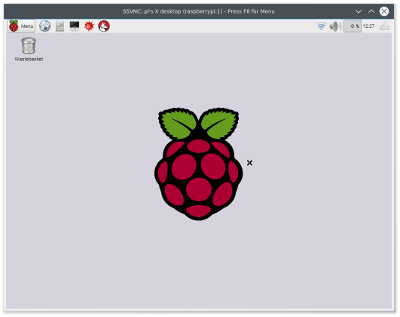 TightVNC viewer running on Linux connected to a Raspberry Pi