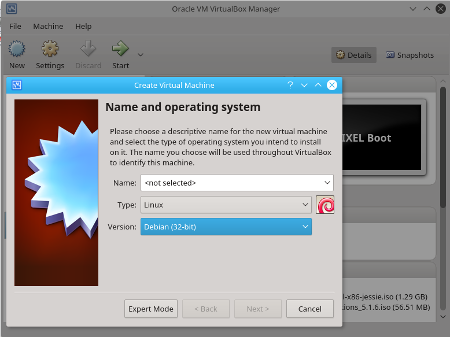 Virtualbox Add new Virtual Machine