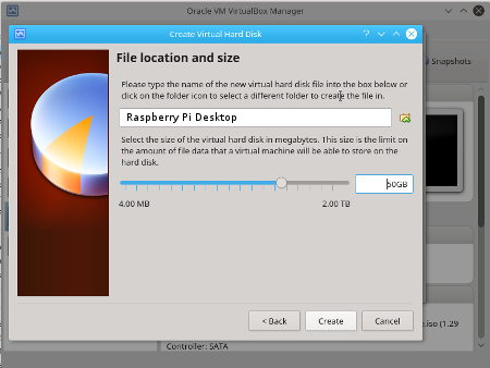 Virtualbox Size Virtual Hard Disk drive for the Virtual Machine