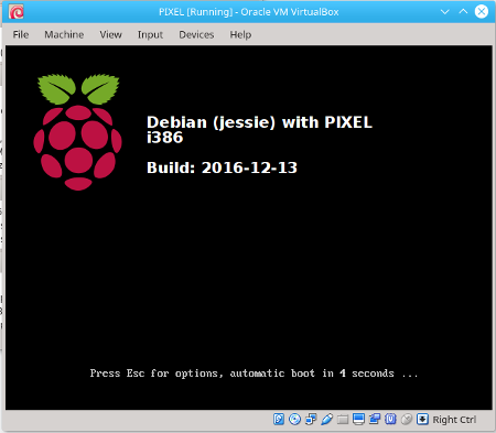 Virtualbox booting the new Raspberry Pi PIXEL DVD iso