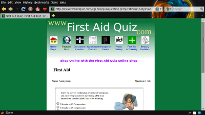 Screen shot of wquiz in use on FirstAidQuiz.com