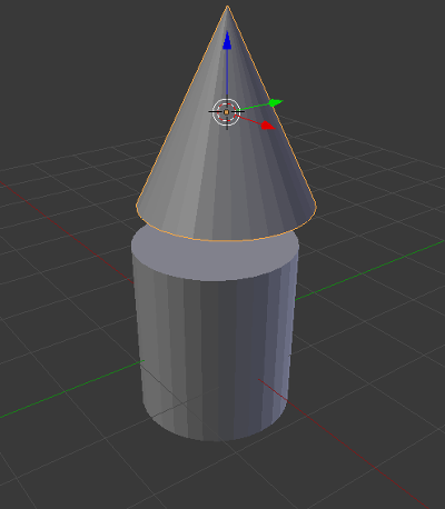 Cylinder and cone in blender start of computer sprite