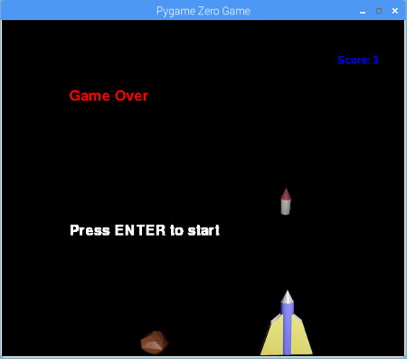 Screen shot Space Asteroids physical computing game written in Python 3, using Pygame Zero and GPIO Zero